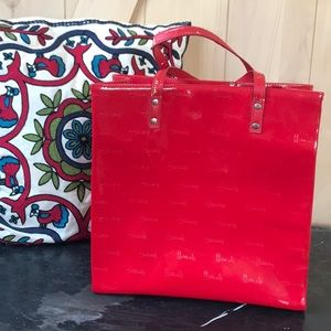 Harrods red patent leather purse